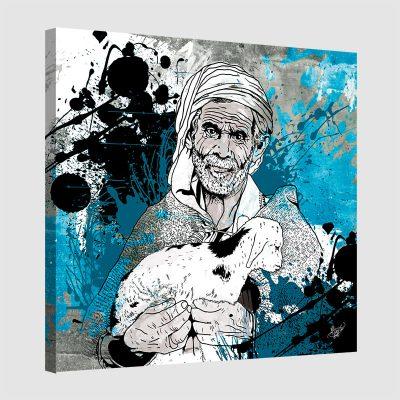 Tableau oriental le berger-bleu