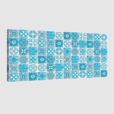 Tableau oriental mosaique camaïeu-turquoise