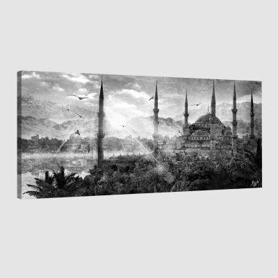 Tableau oriental mosquée d'Istanbul-noir et blanc