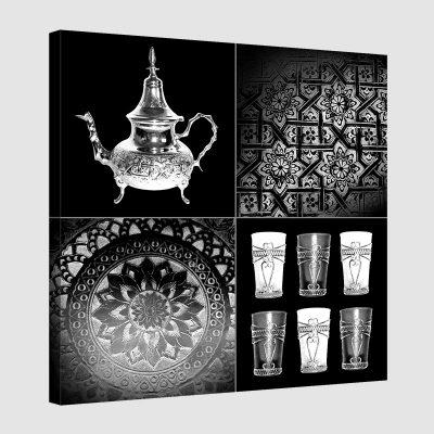 Tableau oriental service à thé-noir et blanc