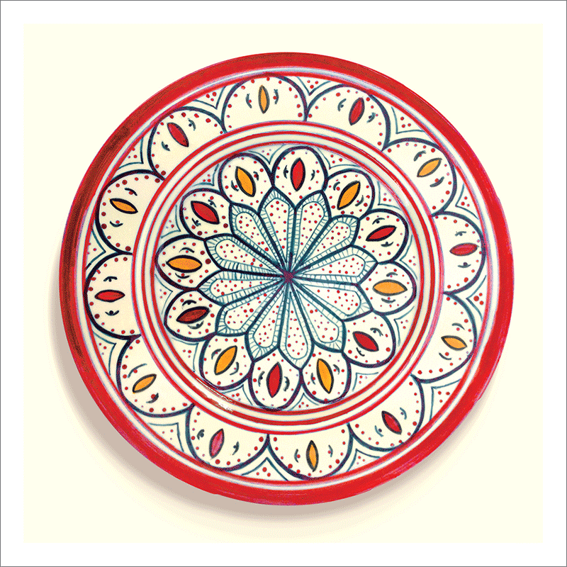 Poster oriental-assiette unitaire-rouge