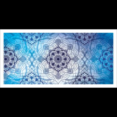 Tableau oriental-abstrait floral-bleu