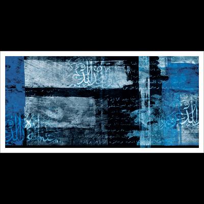 Poster oriental-abstrait noir et bleu