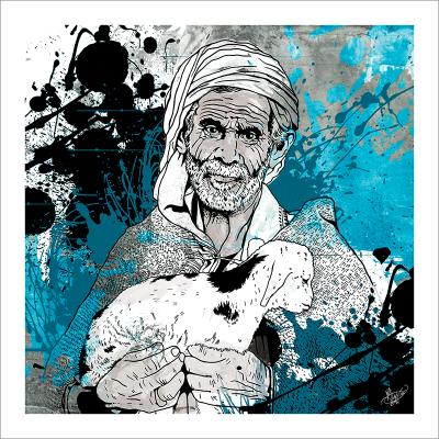 Poster oriental-le berger-bleu