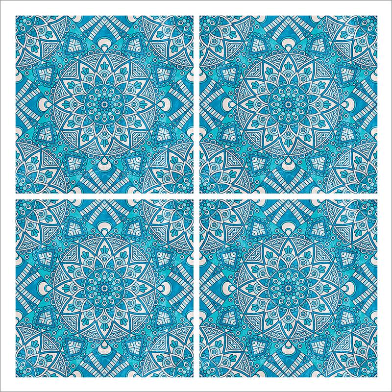 Poster oriental-mosaïque fleur-turquoise