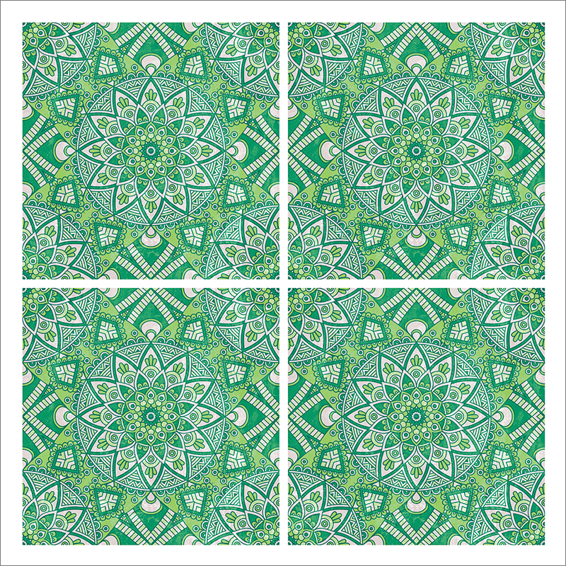 Poster oriental-mosaïque fleur-vert