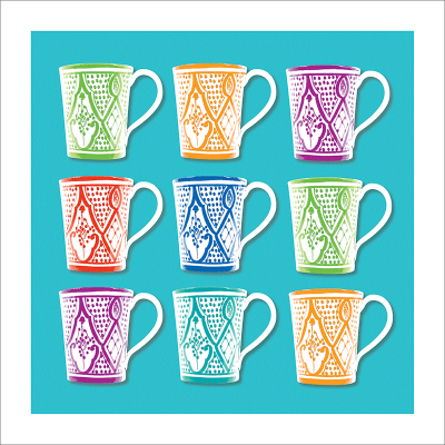 Poster oriental-mug carré-turquoise