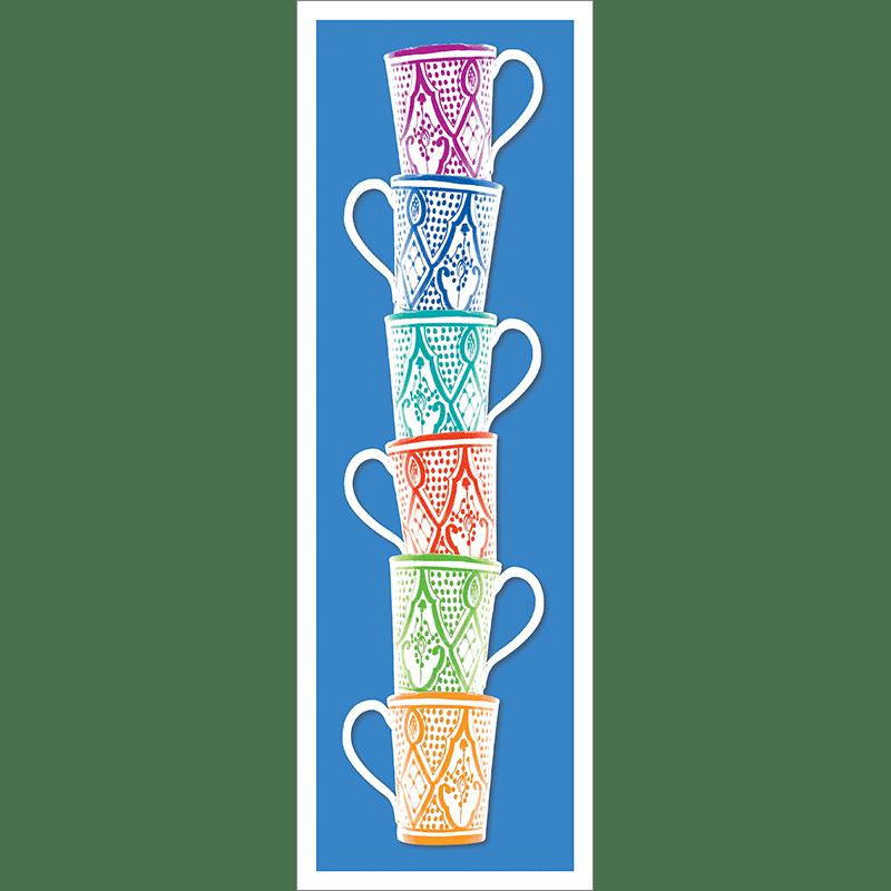 Poster oriental-mug colonne-bleu