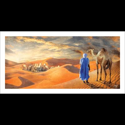 Poster oriental-touareg dans le désert
