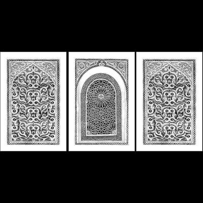 Poster oriental-arabesque triptyque-noir et blanc