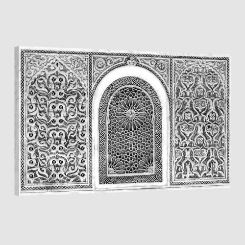 Tableau oriental arabesque-noir et blanc