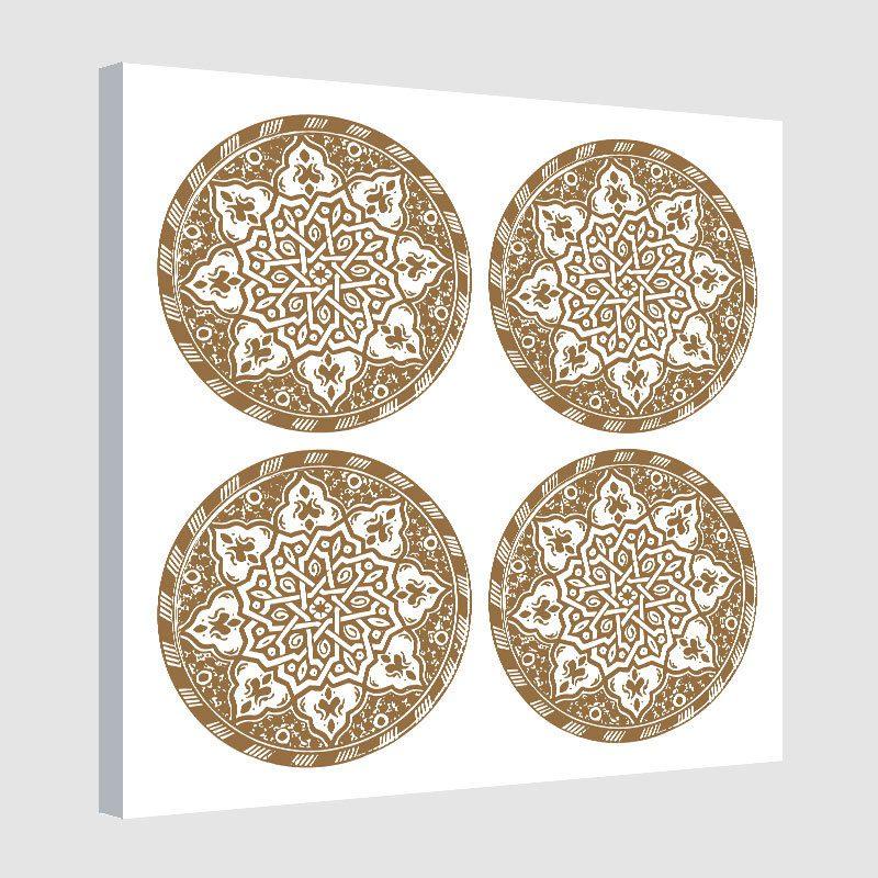 Tableau arabe assiette moderne-marron