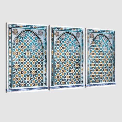 Tableau arabe porte mosaïque triptyque-turquoise