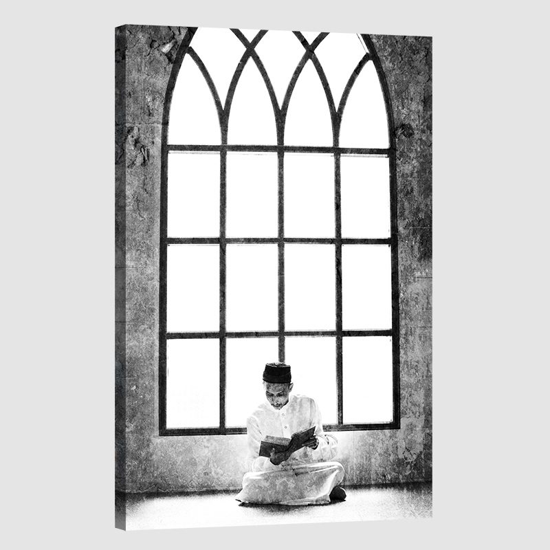 Tableau islam musulman mosquée-n&b