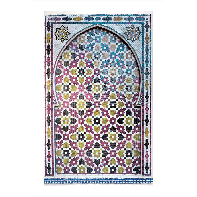 Poster arabe-porte mosaique-fuchsia