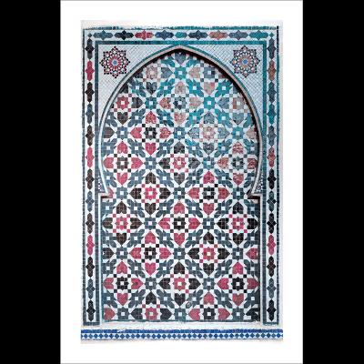 Poster arabe-porte mosaique-rouge
