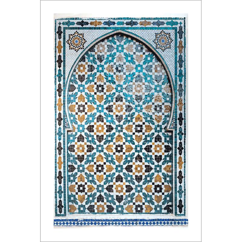 Poster arabe-porte mosaique-turquoise