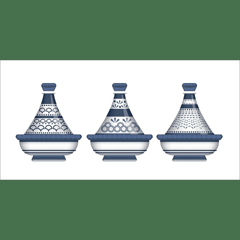 Poster oriental-moderne tajine-bleu