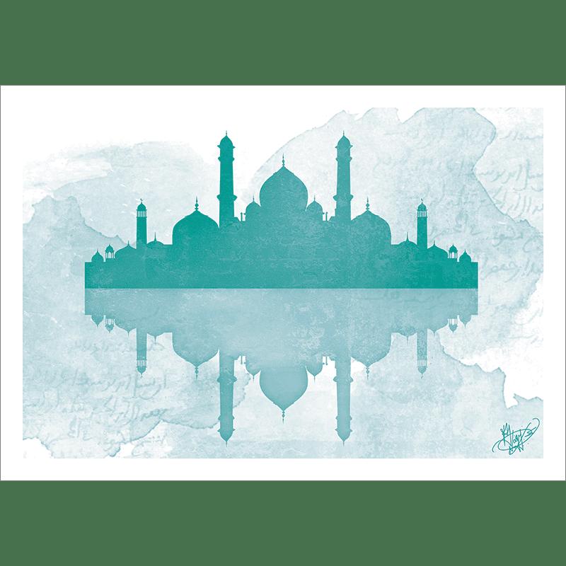 Poster oriental-mosquée aquarel-vert