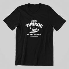 T-shirt tunisie-fier de mes racines-noir