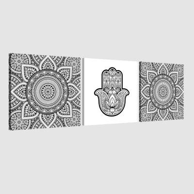 Tableau arabe-Khamsa triptyque-blanc