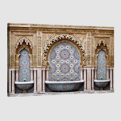 Tableau arabe-fontaine mosaïque-couleur