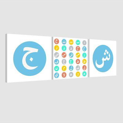 Tableau arabe alphabet-bleu