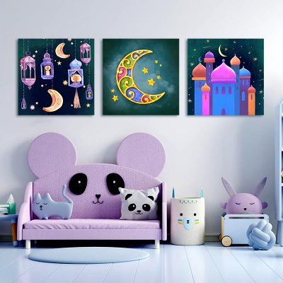 Tableau arabe enfant-aquarel